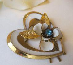 Coro Enameled Heart & Rose Pin Signed 1940s #Coro
