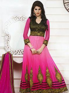 Attractive Pink Anarkali Salvar kamij In Net . Shop at - http://www.gravity-fashion.com/women/salwar-kameez/attractive-pink-anarkali-salvar-kamij-in-net-gf8140699.html