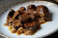 Beef stew with eggplant Greek Greek Recipes, Meat Recipes, Italian Recipes, Cooking Recipes, Greek Dishes, Mediterranean Recipes, Nutrition, Stew, Food To Make