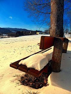 Snow covered bench in winter scenery. Aigen-Schlägl, Austria / Österreich