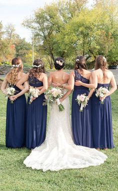 Navy blue bridesmaid dresses - long bridesmaid dresses with varying necklines {One Fine Day}