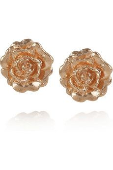 ALEX MONROE. 22-karat rose gold-plated flower stud earrings. Love these but making my own in grey, teal, yellow, and white right now. Hopefully they turn out!