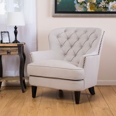 Christopher Knight Home Tafton Tufted Natural Fabric Club Chair By