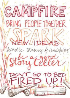 """""""Bring People Together."""" Advice from a Campfire Blank Greeting Card $3.25 ea #greetingcard #quotes"""