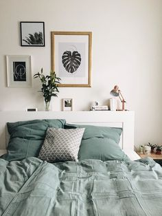 apartment with a green soul- Tired bedroom green scandistyle favorite place 4361 - Bedroom Green, Master Bedroom, Bedroom Decor, Interior Design Inspiration, Room Inspiration, Decoration, Instagram, Home Decor, Brimnes