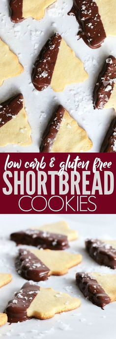 These low carb, gluten free, and paleo Shortbread Cookies are so delicious! Dip in chocolate or add some sprinkles and you have deliciously festive cookies! thetoastedpinenut.com #lowcarb #glutenfree #paleo #cookies #christmascookies
