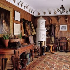 [CasaGiardino] ♡ Yes.everyone needs a boot room! (The oak-paneled boot room in a country manor house in southern England decorated by Robert Kime. Photo by Fritz von der Schulenburg. Decor, Boot Room, House, Interior, Oak Panels, Country Manor House, House Interior, English Decor, Trophy Rooms