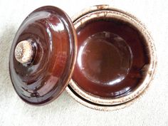 Kathy Kale Brown Drip Bowls with Lid by BonniesVintageAttic, $33.95