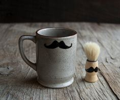 Shaving Set  Mustache Shaving Mug and Shaving by VintageParlorMens