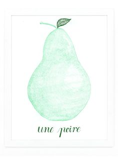 Une Poire Art Print | Sycamore Street Press French just sounds delicious—.and this print looks it. Add a fresh, classic look anywhere from your kitchen to your bedroom with a beautiful custom illustrated and hand.lettered print from this collection.. 11x14 art print, hand printed on a vintage letterpress. Easy to frame. Printed using soy.based ink and 100% cotton paper. Custom illustration and lettering by Eva Jorgensen.