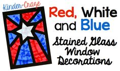 make patriotic window decorations with tissue paper that look like stained glass