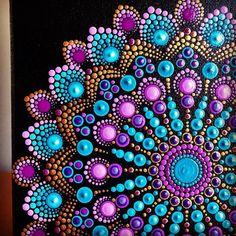 Vibrant color burst dot Mandala on stretched canvas 8 x 8 turquoise, purple, gold Mandala Art, Design Mandala, Mandala Canvas, Mandala Painting, Mandala Pattern, Mandala Tattoo, Dot Art Painting, Painting Patterns, Stone Painting