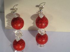 Hey, I found this really awesome Etsy listing at https://www.etsy.com/listing/112483260/red-quartz-bead-drop-earrings-white