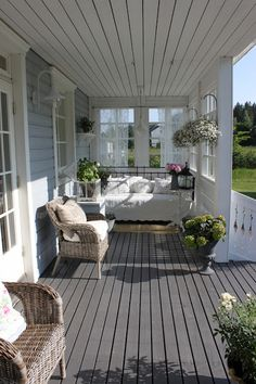 Outside Porch Daybed Rest Area Whitewashed Cottage chippy shabby chic french country rustic swedish decor idea