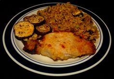 Brined Baked Pork Loin Chop #Brined #Brine #pork #Loin #Chop #Fried Rice #Shitake Mushrooms #Tomatoes #Eggplant #Food #Food Photography