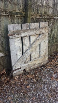 "Early Century Vintage Barn Wood Stall Gate Door 46"" X 46"" W/two Large Metal Cast…"