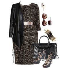 Plus Size Fashion - Leopard by alexawebb on Polyvore featuring Dorothy Perkins, City Chic, Rebecca Minkoff, ABS by Allen Schwartz, Alexis Bittar, Vince Camuto, Essie, plussize, plussizefashion and alexawebb