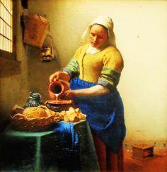 'Het melkmeisje' door Johannes Vermeer uit 1660. Geheel verdiept in haar werk schenkt een dienstmeisje melk in. Behalve de witte melkstraal lijkt niets te bewegen. Die alledaagse handeling balde Vermeer samen tot een indrukwekkend schilderij – als een beeld staat de figuur vrij in de lichte ruimte. Vermeer had oog voor hoe het licht in honderden kleurige puntjes over de voorwerpen speelt.
