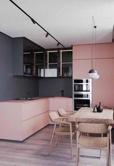 Modern Kitchen Interior Die grys en pienk werk baie mooi saam vir 'n moderne kombuis