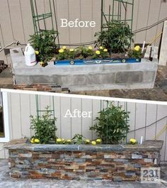 DIY Slate Ledger Stone Planter Boxes with a bench. Boxes built with cinder block. DIY Slate Ledger Stone Planter Boxes with a bench. Boxes built with cinder block and faced with stone, they only look expensive. Stone Planters, Garden Planters, Rock Planters, Large Outdoor Planters, Galvanized Planters, Cinderblock Planter, Concrete Patio, Garden Boxes, Outdoor Projects