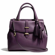 LEGACY NORTH/SOUTH SATCHEL IN LEATHER - BLACK VIOLET by Coach - amazing!