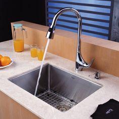 Kraus KHU101-23-KPF1621-KSD30CH Single Basin Undermount Kitchen Sink with Faucet - KHU101-23-KPF1621-KSD30CH