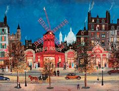 """& # Le Moulin Rouge & # by famous french painter Michel Delacroix. His paintings in the """"naif"""" style are . Michel Delacroix, Delacroix Paintings, Monuments, Paris Painting, Famous French, Paris Art, City Illustration, Cartoon Art Styles, Naive Art"""