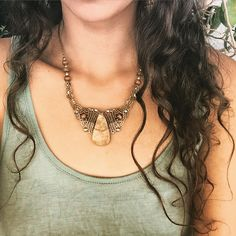 Fossil stone Macrame Necklace MADE by Order. Tribal necklace with  brass beads TRIBAL bohemian gipsy jewelry. Made by Miti.