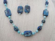 42.5 Inch Blue Imperial Jasper Necklace Earrings by jazzybeads