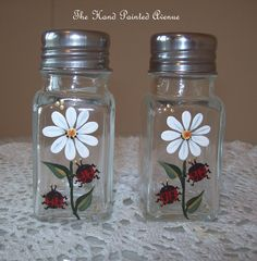 Items similar to Hand Painted Lucky Ladybug Salt & Pepper Set,hand Painted Art Glass on Etsy