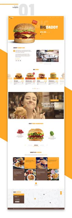Yummy templates — is a series of responsive landing page template for Burger cafe or Coffeeshop with responsive design and easy to customise source files.