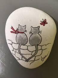"Gemalt von Jeannielise ""Paar von Mimi"" Painted by Jeannielise ""Couple of Mimi"" Painted Rock Animals, Painted Rocks Craft, Hand Painted Rocks, Painted Pebbles, Painted Stones, Rock Painting Patterns, Rock Painting Ideas Easy, Rock Painting Designs, Pebble Painting"