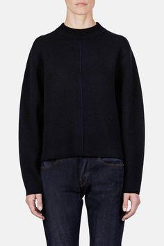 Proenza Schouler — Double Face Cashmere Ls Step Hem Crewneck Sweater Black — THE LINE
