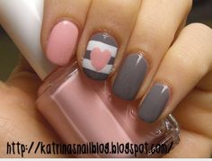 Pink grey and white nails