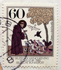 stamp germany 60pf. holy Saint Franz von Assisi 1182