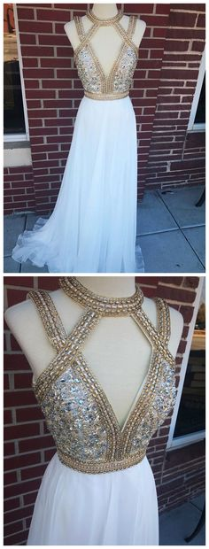 Long Chiffon Deep V-Neck Gold Prom Dresses Beaded Formal Evening Ball Gowns by prom dresses, $198.00 USD Pageant Dresses For Teens, 2 Piece Homecoming Dresses, Gold Prom Dresses, Elegant Bridesmaid Dresses, Prom Dresses For Sale, Tulle Prom Dress, Party Dresses, Wedding Dresses, Prom Outfits
