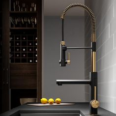Kraus Artec Pro Commercial Style Pre-Rinse Kitchen Faucet with Pull-Down Spring Spout and Pot Filler, Inch, Brushed Gold in Touch On Kitchen Sink Faucets. Home Design, Küchen Design, Layout Design, Design Styles, Design Ideas, Design Trends, Design Inspiration, Kitchen Faucet Reviews, Kitchen Sink Faucets