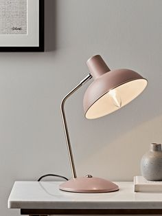 Blush & Brass Desk Lamp - oh my heart! Love this lamp - perfect for my blush and sage bedroom Table Lamps Uk, Ceramic Table Lamps, Table Lamps For Bedroom, Table Desk, Retro Lampe, Silver Floor Lamp, Retro Desk, Globe Lamps, Desk Light
