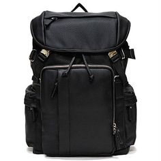 Black Leather Backpack for Men Laptop Backpacks for College Toppu 344
