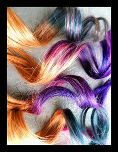 Set Custom Ombre Human Hair Extensions Ombre PASTEL COLORS and more are possible :). $64.00, via Etsy.