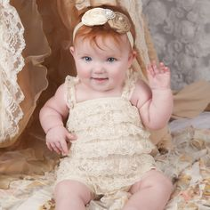 Rosemarie Lace Romper and Silk Flower Baby Girl Headband SET  Introducing our new Rosemarie Lace Romper and Silk Flower Baby Girl Headband SET from Melondipity. If you are looking for a truly stunning, slightly old fashioned and vintage looking set for your baby girl our Rosemarie headband and romper set will be perfect! This is a two piece set including the headband and romper.   $28.99 USD