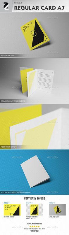 Regular Card A7 #Mockup v1 - #Brochures Print Download here:  https://graphicriver.net/item/regular-card-a7-mockup-v1/19523780?ref=alena994