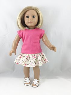 Fits 18 Inch Dolls 2 Piece Set Pink T Shirt and by dressurdolly2
