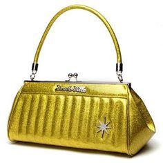 Lux De Ville - Stardust Kiss Lock Gold Sparkle Purse