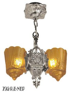 Art Deco Hanging Lights Pendants Two In One Series by Lincoln Recreated Slip Shade Two Light (792-RB1-NEP)