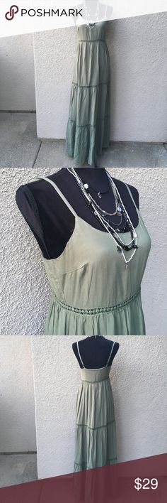 Cool and casual maxi dress Cool and casual olive color maxi dress in flowy 100% rayon has adjustable straps and crochet lace details. Lulu's Dresses Maxi