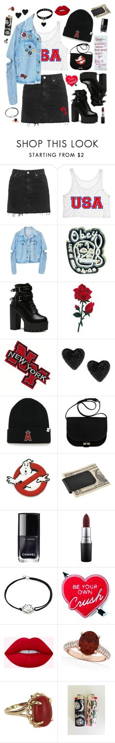 """""""Damaged"""" by alexis-marie-burroughs ❤ liked on Polyvore featuring Topshop, NoHours, Betsey Johnson, A.P.C., Zodaca, Chanel, MAC Cosmetics, Alex and Ani, Yvng Pearl and Allurez"""