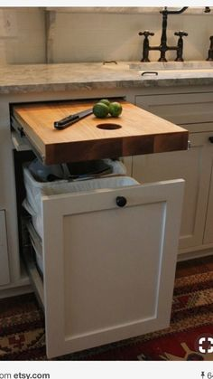Cutting board & trash can convenience!