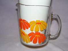 VTG Flower Power Daisy Glass Pitcher Orange & Yellow on Clear Ice Tea Lemonade