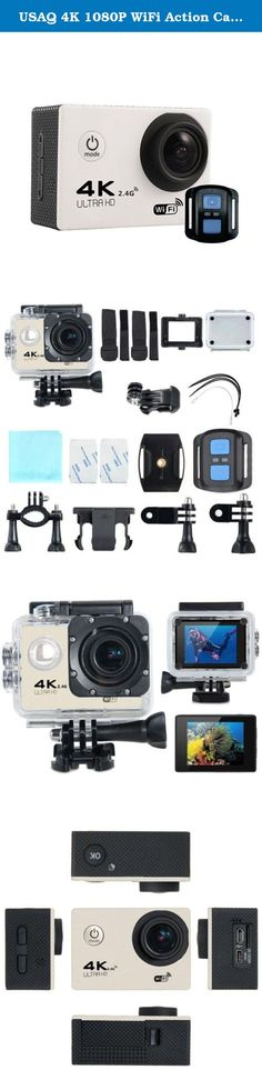USAQ 4K 1080P WiFi Action Camera with Complete Accessory Package and Remote Waterproof Case - White. Features: 1. SONY IMX179 sensor 2. 170 degree HD wide angle lens 3. Maximum video resolution: 4K @30fps 4. 2 inch LCD HD screen 5. Unique slow photography function 6. High color reduction, good image permeability 7. Low power consumption, WIFI video work more than 1.5 hours 8. Can be use for Extreme sports,Outdoors,Bicycle,Diving,Home security,etc. Video Resolution: 4k - 30FPS 2K - 30FPS...